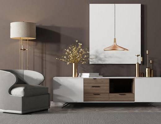 现代简约, 单人沙发, 柜子, 吊灯, 落地灯, 组合, 现代