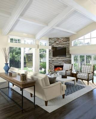 美式客厅, 多人沙发, 茶几, 椅子, 花瓶, 桌子, 美式