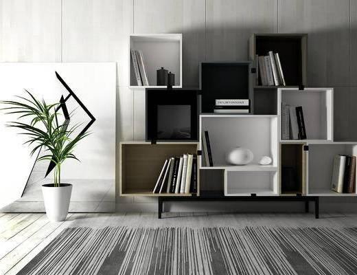 置物柜, 盆栽, 壁画, 现代