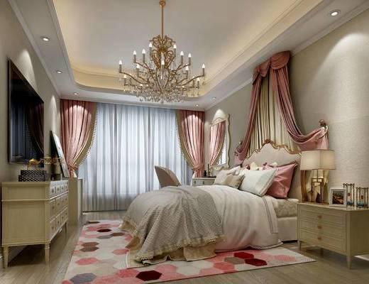 北欧卧室, 吊灯, 双人床, 床头柜, 台灯, 椅子, 电视柜, 北欧