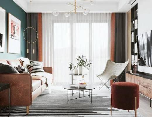 沙發組合, 茶幾, 單椅, 裝飾畫, 邊柜, 桌椅組合, 背景墻