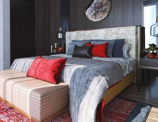 现代简约, 卧室, 床具组合, 陈设品组合