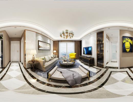 法式简约客厅, 法式沙发茶几组合, 吊灯, 壁画, 边几, 桌椅组合, 酒柜, 台灯, 酒杯, 碗碟, 花瓶, 躺椅, 地毯, 法式