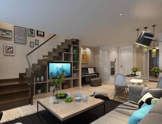 现代, 北欧, 复式, 公寓, 沙发组合, 北欧客厅