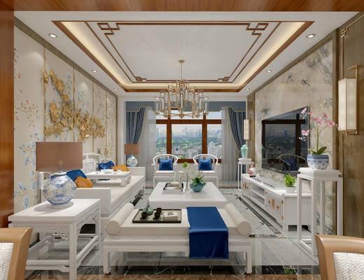 新中式客厅, 电视柜, 茶几, 新中式沙发, 吊灯, 边几, 台灯, 椅子, 壁灯, 盆栽, 沙发躺椅, 壁画, 地毯, 新中式