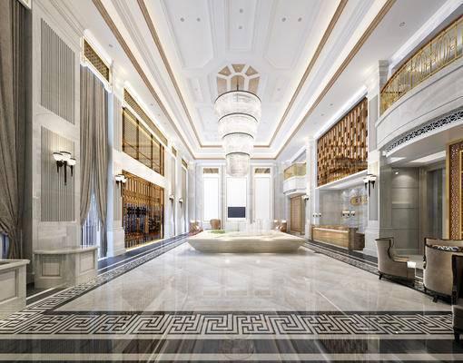 现代, 售楼处, 吊灯, 前台, 壁灯, 沙发, 茶几, 1000套空间酷赠送模型