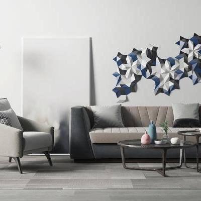 现代沙发茶几组合, 落地灯, 现代