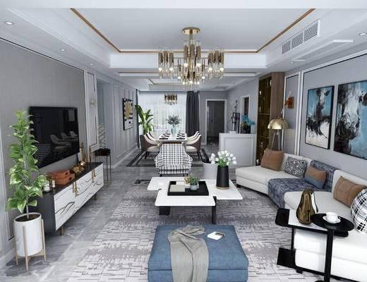 现代轻奢客餐厅, 吊灯, 多人沙发, 壁画, 边几, 茶几, 电视柜, 台灯, 椅子, 现代