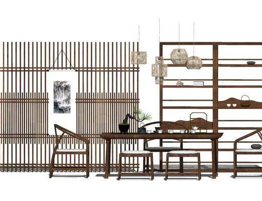 餐桌, 椅子, 壁画, 吊灯, 中式