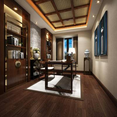 新中式书房, 置物柜, 桌子, 椅子, 边几, 台灯, 花瓶, 新中式