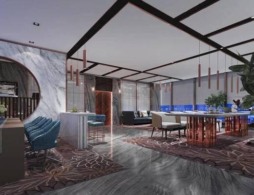 办公区, 桌子, 椅子, 多人沙发, 吊灯, 后现代
