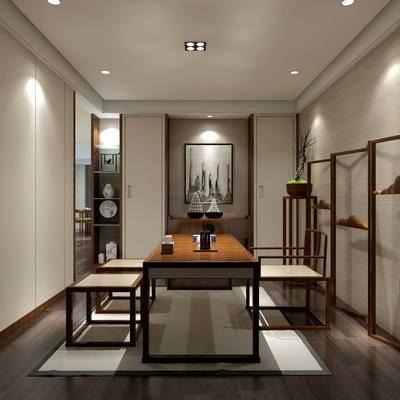 茶室, 桌子, 椅子, 壁画, 边几, 置物柜, 盆栽, 中式