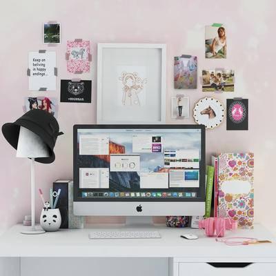北欧, 摆件组合, 粉色, 墙饰, 电脑, 书桌, 鼠标, 键盘, 笔, 显示屏, 台灯, 帽子