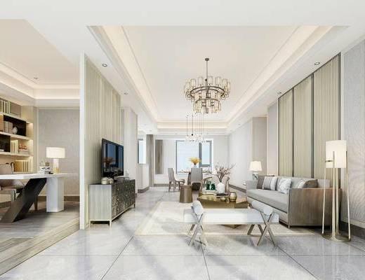 中式客厅, 落地灯, 多人沙发, 茶几, 边几, 台灯, 电视柜, 置物柜, 沙发凳, 椅子, 中式