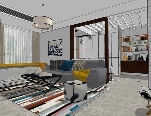 北欧客厅, 多人沙发, 茶几, 椅子, 置物柜, 壁画, 沙发凳, 吊灯, 北欧