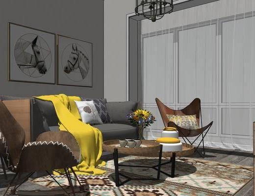 现代公寓, 公寓, 客厅餐厅