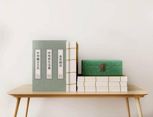 书籍杂志, 摆件组合, 新中式