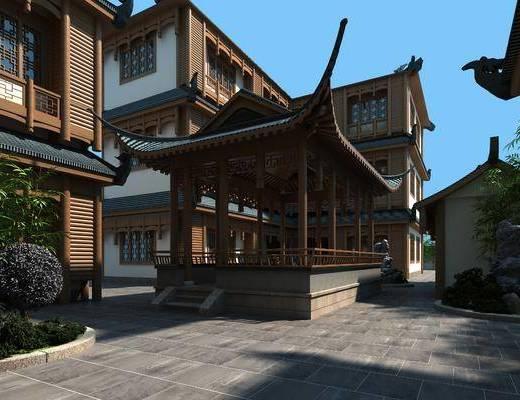 中式, 古建, 庭院, 假山, 植物, 室外建筑