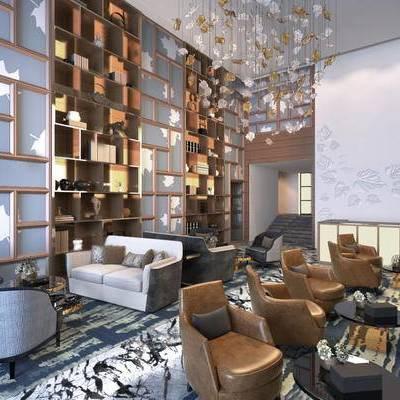 会客厅, 洽谈区, 椅子, 多人沙发, 置物柜, 吊灯, 茶几, 现代