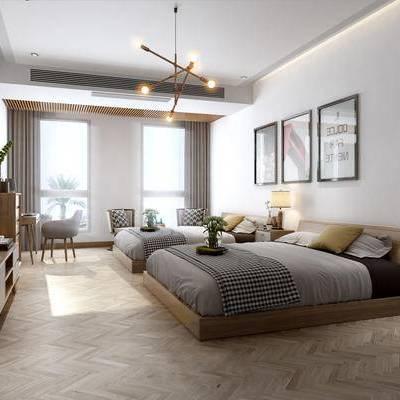 北欧卧室, 吊灯, 壁画, 双人床, 椅子, 边柜, 台灯, 床头柜, 北欧