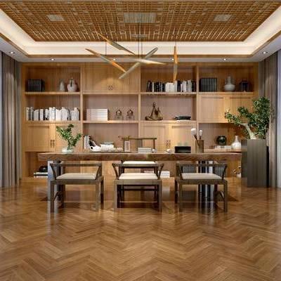 中式书房, 吊灯, 桌子, 椅子, 置物柜, 盆栽, 中式