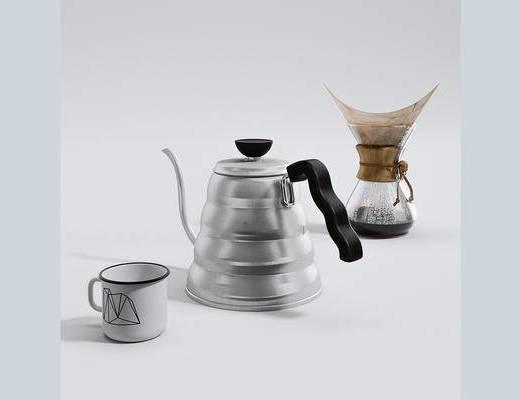 水壶, 杯子, 摆件, 现代