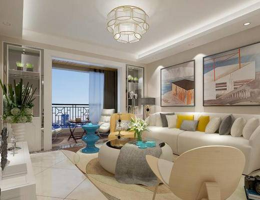 现代客厅, 多人沙发, 茶几, 椅子, 边几, 壁画, 吊灯, 置物柜, 花瓶, 现代