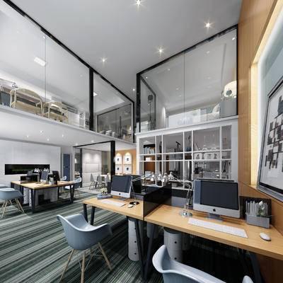 现代办公室, 壁画, 桌子, 椅子, 台灯, 电脑, 现代