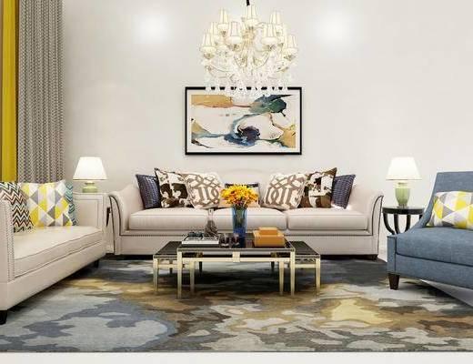 美式, 沙发, 茶几, 吊灯, 台灯, 花瓶, 窗帘