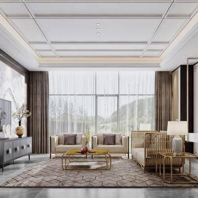 现代客厅, 多人沙发, 椅子, 茶几, 电视柜, 边几, 台灯, 壁画, 现代
