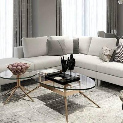 现代客厅, 多人沙发, 茶几, 边几, 桌子, 椅子, 现代