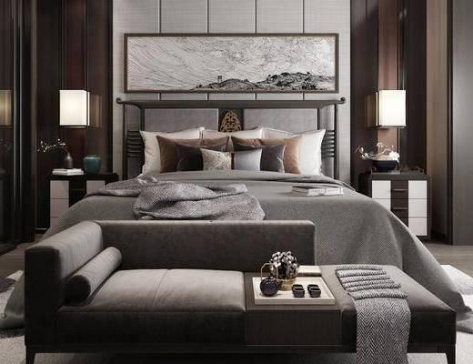 新中式卧室, 卧室, 双人床