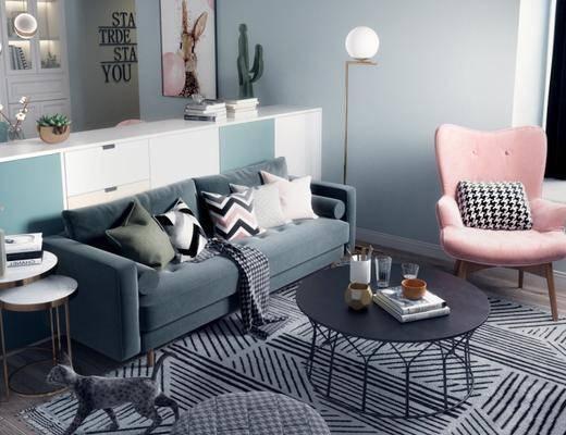 北欧客厅, 北欧沙发茶几组合, 边几, 储物柜, 落地灯, 北欧桌椅组合, 地毯, 吊灯, 北欧