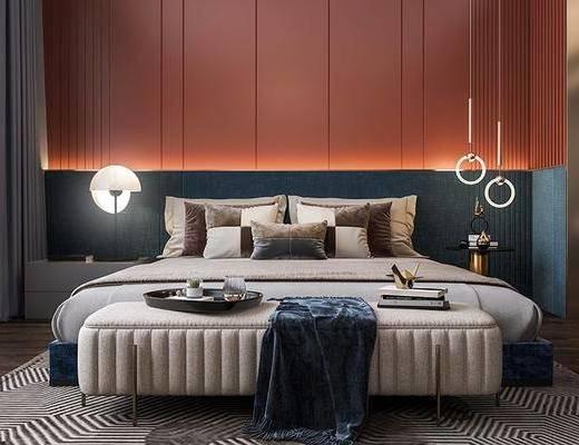 双人床, 床具组合, 吊灯, 衣柜, 卧室