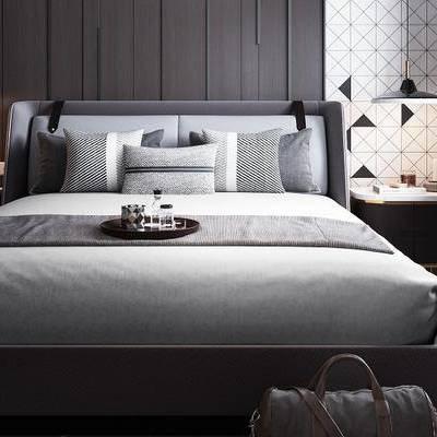 床具组合, 床头柜, 吊灯, 置物柜, 椅子, 地毯, 现代
