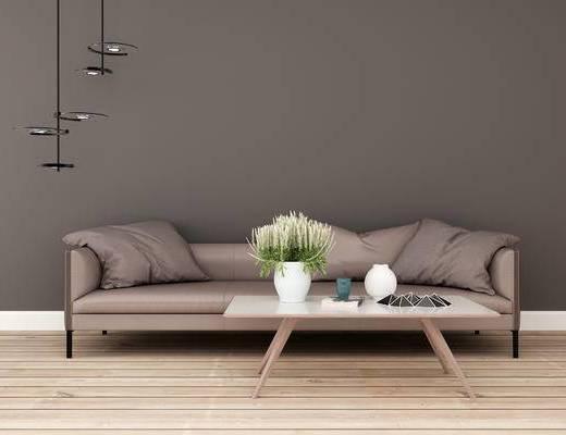 沙发组合, 多人沙发, 茶几, 现代
