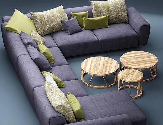 现代简约, 多人沙发, 现代沙发, 茶几