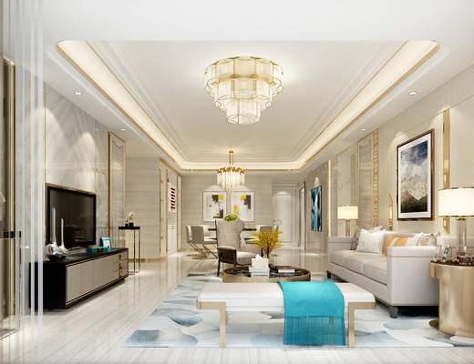 现代客厅, 吊灯, 壁画, 多人沙发, 茶几, 电视柜, 边几, 台灯, 椅子, 现代
