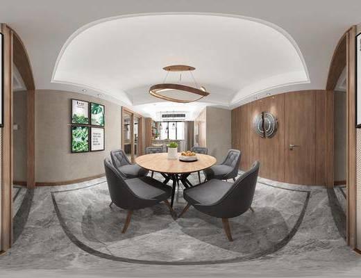 现代客餐厅, 吊灯, 桌子, 椅子, 吧台, 吧椅, 壁画, 现代