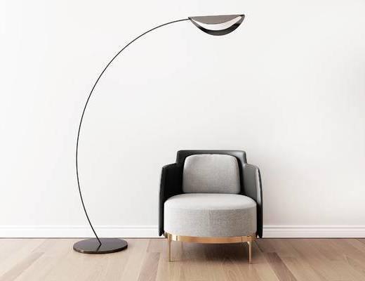 单椅, 椅子, 落地灯, 现代