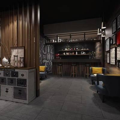 现代咖啡厅, 单人沙发, 壁画, 吧台, 吧椅, 边柜, 现代