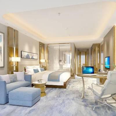现代宾馆, 壁画, 椅子, 双人床, 多人沙发, 桌子, 边几, 壁灯, 地毯, 现代