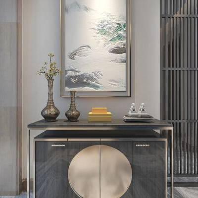 走廊, 边柜, 花瓶, 壁画, 中式
