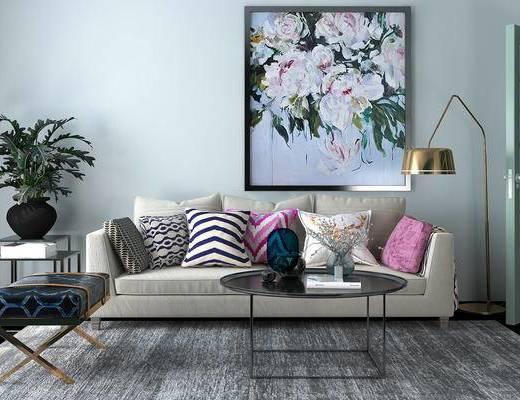 现代, 沙发, 茶几, 挂画, 装饰画, 盆栽, 落地灯, 金属落地灯, 边几, 摆件