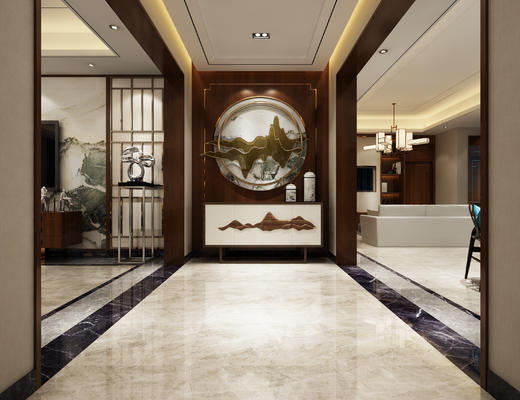 玄关走廊, 边柜, 壁画, 吊灯, 电视柜, 中式