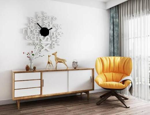 边柜, 椅子, 单椅, 时钟, 北欧