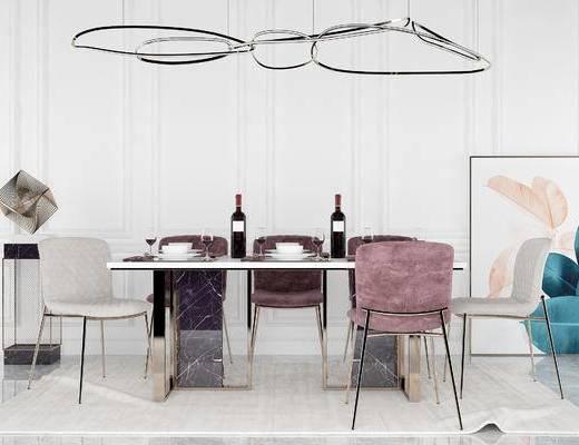 桌椅组合, 桌子, 椅子, 吊灯, 装饰画, 现代