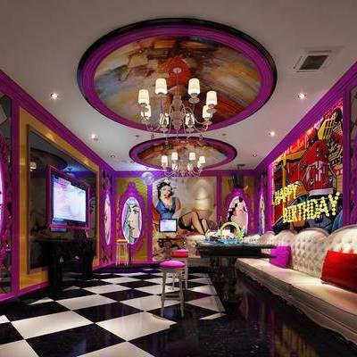 KTV, 壁画, 多人沙发, 吊灯, 茶几, 吧椅, 现代