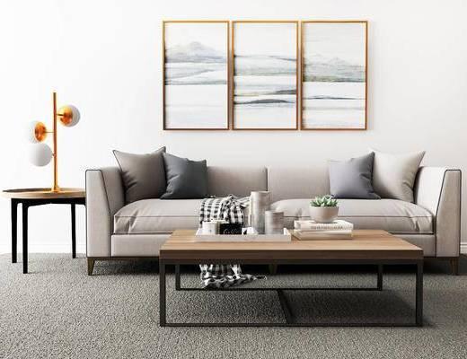 沙发组合, 双人沙发, 壁画, 茶几, 台灯, 边几, 现代