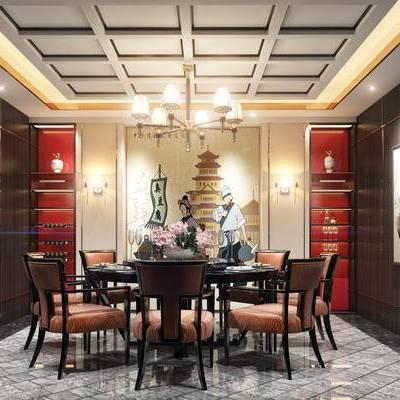 中式包间, 桌子, 椅子, 壁画, 置物柜, 吊灯, 中式